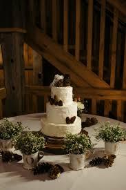 Pittsburgh White Barn Rustic Glam Pine Cone Three Tiered Wedding Cake
