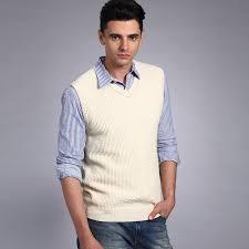 vancl tipped collar wool sweater vest men beige u2013 wholesale vancl
