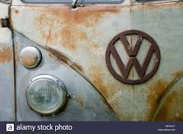 Close Up Of The Badge On Front An Old Rusty Volkswagen Camper Van