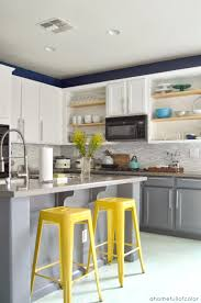 Love The White Top And Grey Bottom Cabinets I Like Pop Of Brilliant Yellow Gray Kitchen
