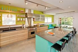 Incredible Style Mid Century Modern Kitchen Minimalis Furniture Sink Table Chandelider Ceiling Blue Wall Wood