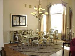Luxurious Vicctorian Style Dining Room With Rectangle Glass Table And Classic Gold Chairs Plus Mirrored Console Cabinet Over Antique Hanging Lamp