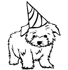 Puppies Coloring Pages Wearing Birthday Hat