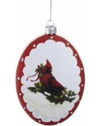 5 White And Burgundy Cardinal With Holy Berry Glittered Christmas Tree Ornament
