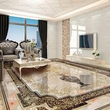 großhandel benutzerdefinierte selbstklebende boden wandbild klassischen europäischen stil vase marmor bodenfliesen wand papier aufkleber wohnzimmer