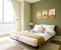 Modern Bedroom Design With Platform Bed And Green Wall Color Paint