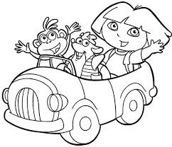 Dora And Friends Ride Cars Coloring Pages