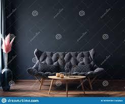 innenausstattung modernes dunkles wohnzimmer schwarze