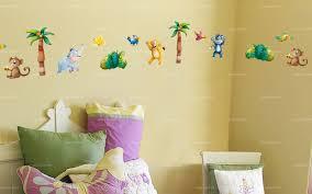chambre bebe jungle sticker frise bébés animaux de la jungle