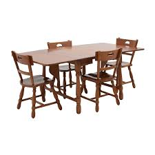 83% OFF - Maple Dining Table With Four Matching Chairs / Tables Maple And Black Kitchen Sets Edina Design Formal Ding Room Fniture Ethan Allen Solid Maple Ding Table With 6 Chairs And 2 Leaves 225 Bismarck Nd Uhuru Colctibles 1950s Table W Baytown Asbury 60 Round 90 Off Custom Made Tables Home Decor Amusing Chairs Inspiration Saber Drop Leaf Chair Set By Lj Gascho At Morris Christy Shown In Grey Elm Brown A Twotone Michaels Cherry Onyx Finish Includes 1 18 Leaf Kalamazoo Dinner Vintage W2 Leaves Hitchcock Corner Woodworks Vermont