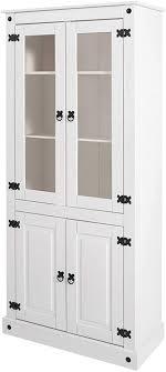 loft24 a s vitrine 4 türig landhausstil vitrinenschrank weiß standvitrine esszimmerschrank glasfront kiefer massivholz metallgriffe 81x38x177 cm