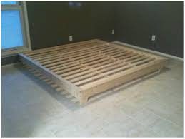 contemporary black painted wooden platform bed frame without side