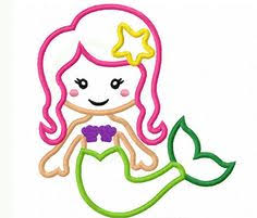 Mermaid Applique Machine Embroidery Design $3 99 via Etsy
