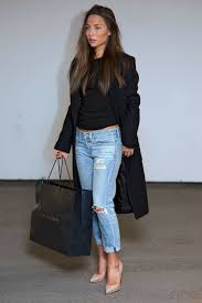 boyfriend jeans cropped black sweater heels and a great