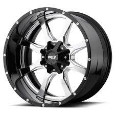 100 Moto Wheels Truck MOTO METAL WHEELS MO201 Chrome Center W Gloss Black Milled Lip