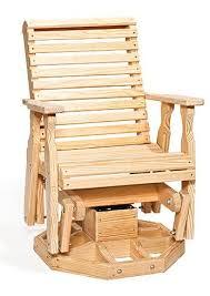 amish pine wood roll back swivel glider chair glider chair