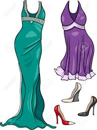Cartoon Illustration Of Women Evening Dresses And Shoes Objects Set Stock Vector