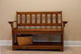 Bench Furniture Brown Wooden Entryway Bench With Back And Arm