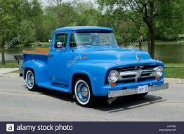 100 1956 Ford Truck F100 Custom Cab Pickup On Pavement Stock Photo