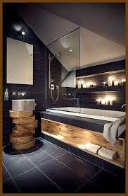 bad wellness inspiration dunkel holz badezimmer