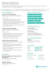 Resume Template Novoresume Awesome Experience In Customer Service