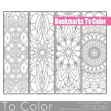 Printable Pattern Coloring Page Bookmarks PDF JPG Instant Download Book Last Minute Gift Idea Stocking Stuffer Custom