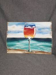 Beach Painting Pallet Art Wine Glass Sunset Nautical Decor Distressed