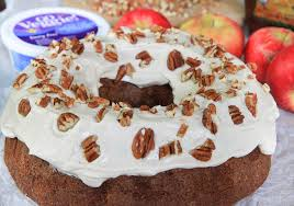 cinnamon apple bundt cake with maple cream cheese frosting