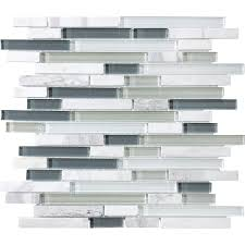 shop allen roth venatino linear mosaic and glass marble
