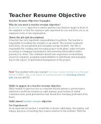 Sample Resume Teachers Philippines With Objectives For Packed Objective Together Experienced Teacher Detail