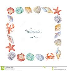 100 Sea Shell Design Watercolor Corners Of The Frame With S Stock Illustration