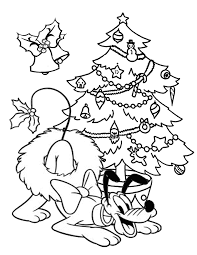 Pluto With Christmas Wreath Coloring Page