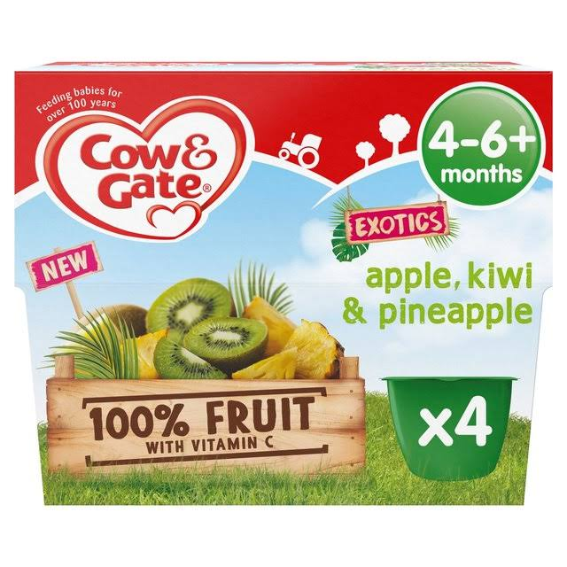 Cow & Gate Exotics Apple Kiwi & Pineapple Fruit Puree Pots