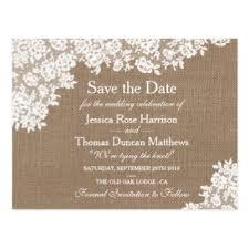 Rustic Burlap Amp Vintage Lace Wedding Save The Date Postcard
