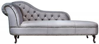 chesterfield recamiere chaiselongue silbergrau aus dem hause casa padrino wohnzimmer liege sofa