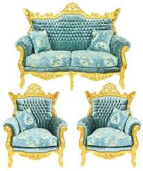 casa padrino barock wohnzimmer set master türkis blau muster