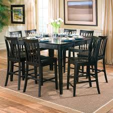 Beautiful Black Color Wood Square Dining Room Table Seats 8 With
