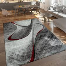 moderner kurzflor teppich wohnzimmer meliert abstraktes design grau rot schwarz grösse 120x170 cm