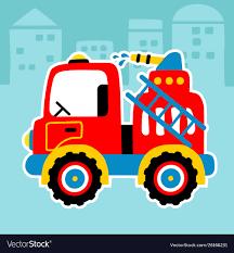 100 Fire Truck Red Fire Truck Cartoon In A Street City