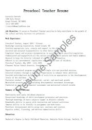 Preschool Director Resume Child Care Center Examples Teacher Resumes