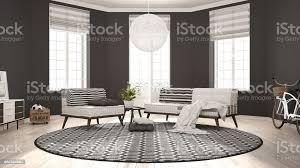 skandinavische minimalistische wohnzimmer mit sofa sessel und teppich modernes interior design stockfoto und mehr bilder architektur