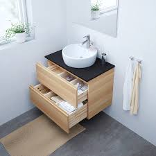 godmorgon sink cabinet with 2 drawers white stained oak