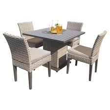 TK Classics Florence All Weather Wicker 5 Piece Patio Dining Table Set With  Side Chairs