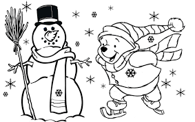 Winnie The Pooh Winter Coloring Page And Piglet At Pages