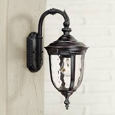 bellagio 16 1 2 high downbridge black outdoor light 49276