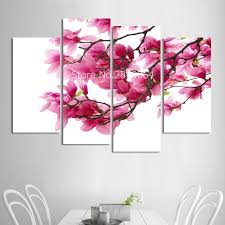 Painting Wall Art Pictures Canvas Posters Frame 4 Panel Pink Magnolia Delicate Flowers Landscape Home Decor HD Printed