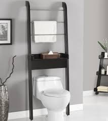 Black Wooden Finished Over The Toilet Storage With Towel Hanger Beside Three Tier Open Rack Shelf For Space Saving Grey Bathroom Interior