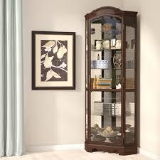darby home co ferron lighted corner curio cabinet reviews wayfair