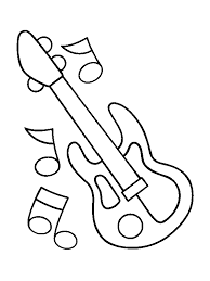 Guitar For Little Children Coloring Pages
