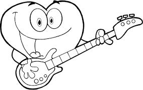 Coloring Page Of Cute Love Heart Playing Guitar For Kids 300x188